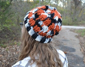 Orange Crochet Beanie