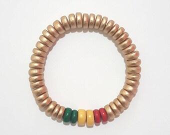 Rasta Bracelet, Ethiopian Bracelet, African Bracelet, Green Yellow Red Bracelet, Mens Beaded Bracelet, Wooden Rasta Bracelet