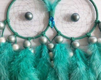 Owl Dreamcatcher - owl dream catcher, large dreamcatcher, large dream catcher, owl decor, mint green decor