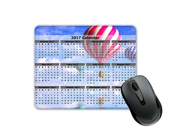 2017 Year Calendar Blue Sky with Colorful Hot Air Balloons (SQUARE) Mouse Pad