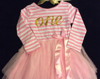 Birthday dress-1st Birthday Pink Dress-Tutu Party Dress-Free Headband-Pink Tutu-Baby Birthday Dress-My first birthday-Pink and Gold Dress