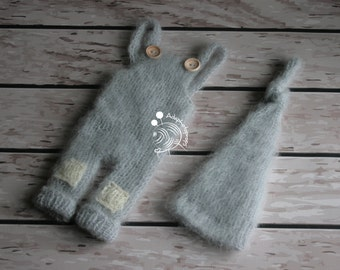 Newborn hat and pants,Newborn outfit,Grey outfit,Mohair outfit,Mohair set,Long hat,Knits hat,photoprops,photogrpahy props,romper