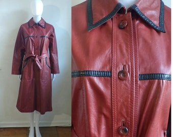 50%offJune27-30 60s leather trench coat size xs/small, 1960s red & black belted leather coat, mad men womens western long leather jacket