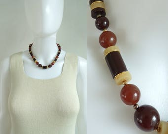 70s beaded necklace, brown gold acrylic chunky bead necklace, 1970s retro vintage necklace, costume jewelry, jewellery