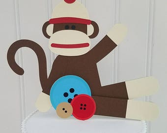 Sock monkey smash Cake Topper, sock monkey Birthday, sock monkey First Birthday, sock monkey Baby Shower, sock monkey smash cake, monkey cak