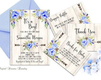 Boho Baby Boy Shower Invitation Printable Boho Floral Baby Shower Invite Blue Baby Invitation Its a Boy Baby Invitation Rustic Baby Shower