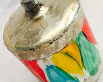 """Vintage 3"""" mercury glass colorful hand painted drum Christmas ornament West Germany"""