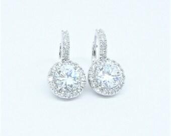 Wedding bridesmaid cubic zirconia rhodium plated round earrings