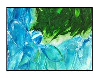 Original Landscape art acrylic painting green blue coast water serene scene artwork Fringe by Robert McConvey contemporary artwork