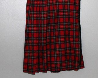 Vintage 60s 70s Red Green Plaid Kilt Skirt Pendleton Wool Big Safety Pin Sz 14 Tartan Wrap