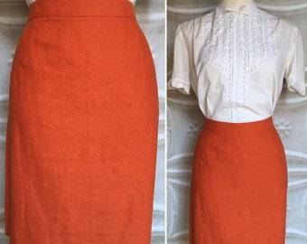 Orange pencil skirt | Etsy
