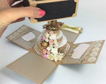 pop up Birthday card - handmade personalized birthday card with pop up cake - green pop up cake