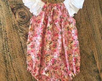 Heaven Sent Handmade baby girl flutter sleeve romper snap crotch pink flower floral lace