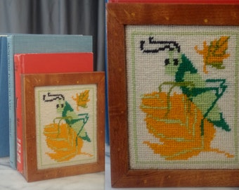 Vintage 1970's Cricket Grasshopper Bookend Needlepoint Cross Stitch Insect Art