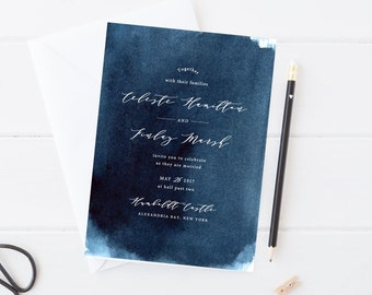 Wedding Invitation - Indigo Night Sky Watercolor and Calligraphy