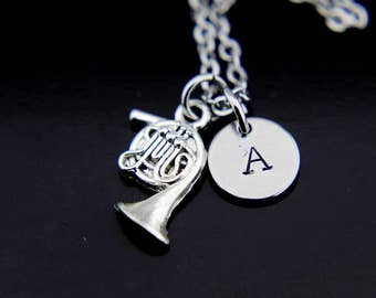 French Horn Necklace, Silver French Horn Charm Necklace, Musical Instrument French Horn Charm, Personalized Necklace, Initial Charm
