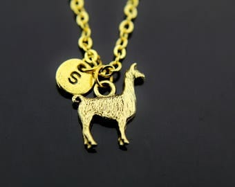 Llama Necklace, Gold Llama Charm Necklace, Llama Charms, Personalized Necklace, Initial Charm, Initial Necklace, Customized Jewelry