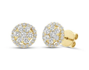 Natural 0.97 CT 18K Yellow Gold Round Diamond Cluster Halo Stud Earring