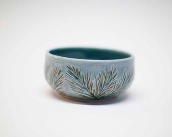 cereal bowl, ice cream bowl, ceramic bowl, pine motif bowl, carved bowl, stoneware bowl