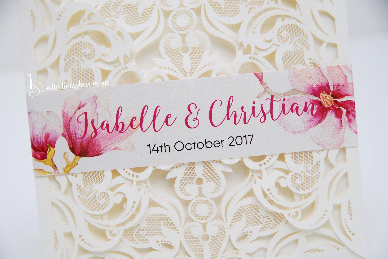 Wedding Invitation Belly Band flat printed design custom