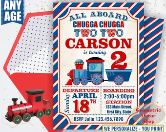 Vintage Train Birthday Invitation Train Invite Blue Red Train Invitations Boy Party Chugga Choo Photo Photograph Two Second Birthday BDT8