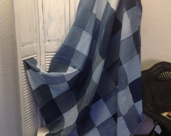 """Upcycled Denim Picnic or Utility Blanket or Quilt (8"""" squares)"""
