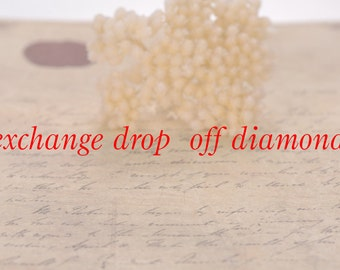 The extra cost for exchange diamond drop off. Available for any jewelry,wedding engagement rings,pendants,earrings.