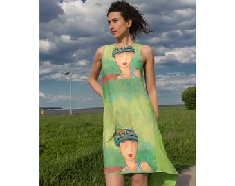 Asymmetric Dress / Women Tunic-Dress / Womens Dresses / Womens Tunics / Summer Tunic / Green Tunic-Dress / Comfortable Dress / Cotton Tunic