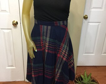 Sz. Small Pleated Plaid Vintage Skirt