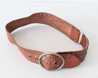 Fossil Statement Belt, Women's Size Medium Brown Leather Waist Belt