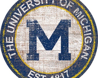 """NCAA University Of Michigan Round Distressed Historic Established Wood Sign 24"""" In Diameter"""