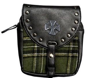 Kilt pouch green Celtic Cross
