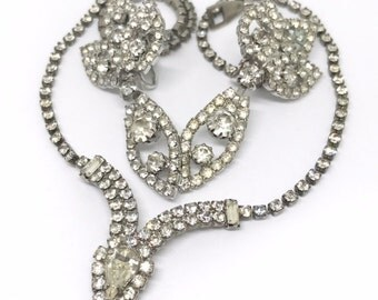Clear Rhinestone Necklace and Earring Lot, Bridal Jewelry Set