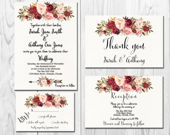 Marsala Burgundy Boho Wedding Invitation Printable, Wedding Invitation Suite, Wedding Invitation Set, Floral Wedding Invitation, Digital