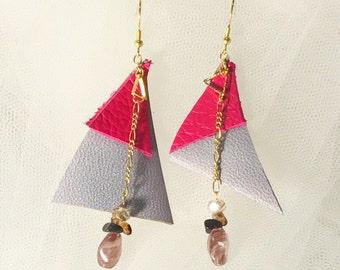 Leather Earrings, Gemstone Earrings