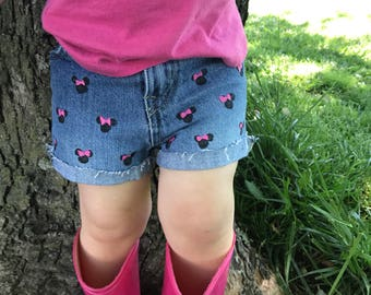 Girls Minnie Mouse Shorts Outfit Denim Jean Shorts Minnie Mouse Birthday Free Matching Hair Bow or infant Headband Red or Pink