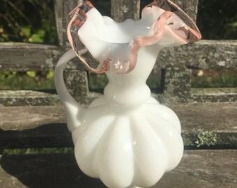 White Milk Glass Vase Rose Crest Ruffled Handle Vintage Vase Pink Vase Pink crest pitcher jug vase Vintage Home Decor LOVE it All Boutique