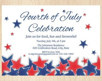 4th of July Independence Day Printable Invitation, Red White and Blue 4th of July Patriotic Party Invite, Stars, Digital File PI011