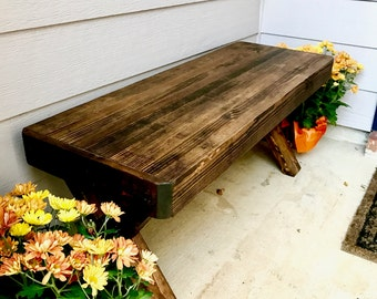 Custom Wooden Handmade Rustic Bench with X Style Legs