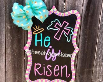 Easter door hangers, Easter chalkboard, He is risen, Easter Pastels, Cross Door Hanger