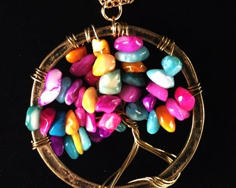 Tree of Life Pendant- Multi Color Beaded and Wire Wrapped Pendant