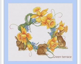 Floral cross stitch pattern, cross stitch pattern, cross stitch pattern flower, modern cross stitch, PDF, instant download