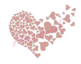 Machine Embroidery Design Flying heart art valentine's day - Instant Digital Download
