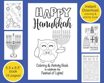 Hanukkah Printable Coloring & Activity Book, Kids Hanukkah Activity, Instant Download Hanukkah Games, Printable holiday activity, Menorah
