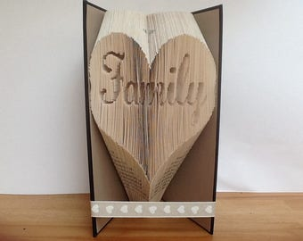 Family in a heart folded book art