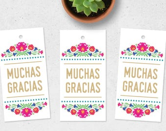 Muchas Gracias Tags, Muchas Gracias Gift Tags, Fiesta Favor Tags, Mexican Favor Tags, Mexican Fiesta Tags, De Colores Tags, Printable