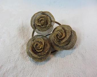 Vintage Brass Mesh Rose Brooch
