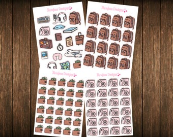 Teensy Weensy Set of 4 Travel Themed Planner Stickers - Erin Condren Planner Stickers - Happy Planner - Plum Paper - Functional Stickers
