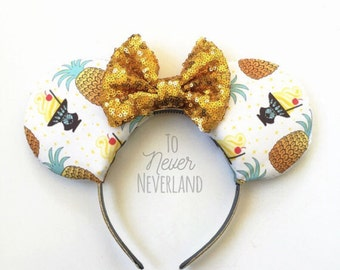 Dole Whip Ears, Adventureland Dole Whip Ears, Dole Whip Mickey Ears, Tiki Room Dole Whip Disney Inspired Ears, Ready to Ship Dole Whip Ears