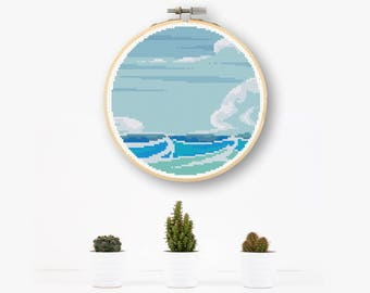 Seascape Cross Stitch Pattern Nautical Decor Seaside Needlepoint Sea Life Pattern PDF Download Chart Sea View Circle Decor Modern DIY